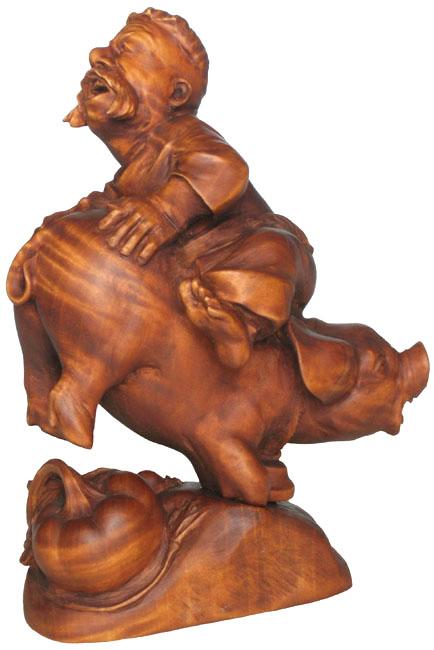 Удача 2007, деревянная скульптура. Резьба по дереву. Сувенирная продукция. Бизнес сувенир. Оригинальный подарок в традициях народных промыслов Украины.