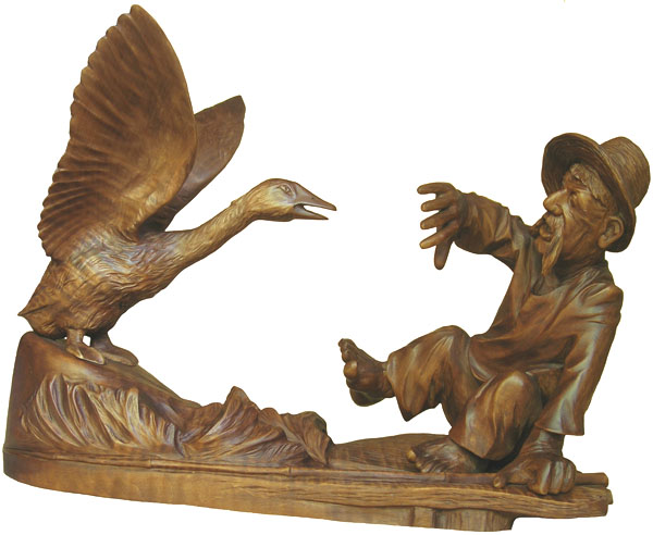 статуэтка Гусь, деревянная скульптура, Резьба по дереву. Бизнес сувенир. Оригинальный  подарок в традициях народных промыслов Украины. Сувенирная продукция. (89,7 КБ)