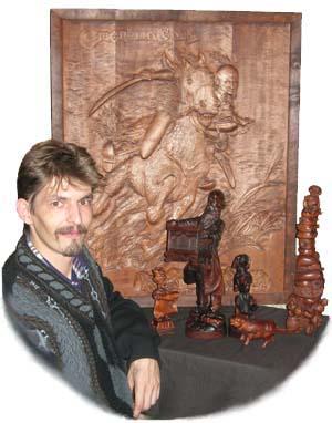 Мастер резьбы по дереву Виктор Каут. Деревянная скульптура. Бизнес vip сувениры. Оригинальные  элитные подарки. Эксклюзивные сувениры.