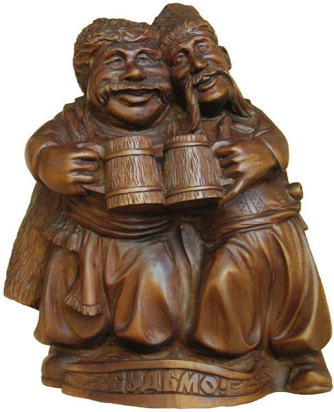 Кумовья, деревянная скульптура. Резьба по дереву. Сувенирная продукция. Бизнес сувенир. Оригинальный подарок в традициях народных промыслов Украины.