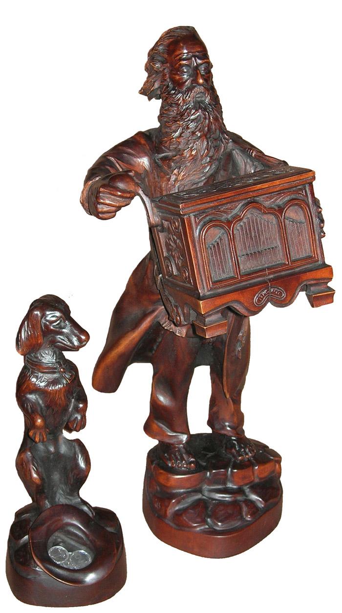 Шарманщик, деревянная скульптура. Резьба по дереву. Vip сувениры.