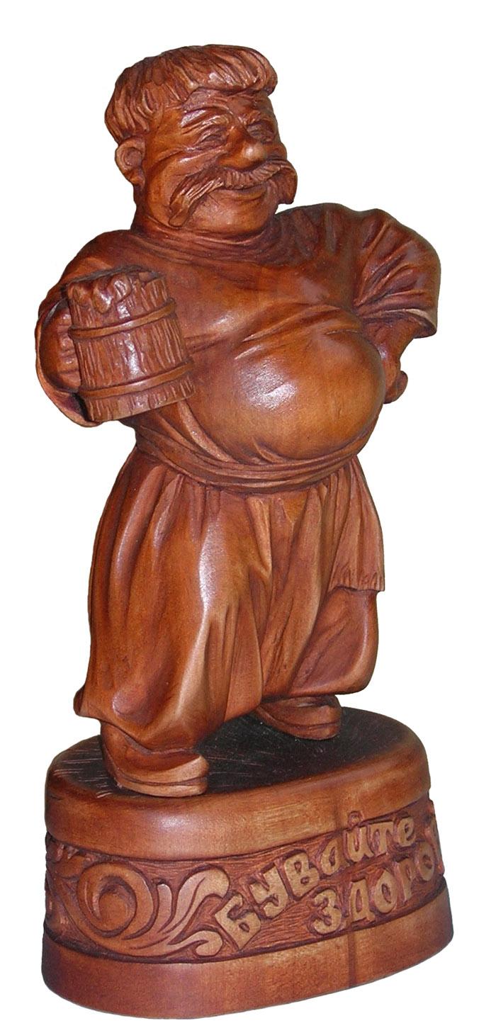 декоративно прикладное искусство, деревянная скульптура Выпивоха, резьба по дереву. Сувенирная продукция. Бизнес сувенир. Оригинальный подарок в традициях народных промыслов Украины.